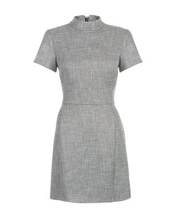 Grey Flecked High Neck Skater Dress  | New Look