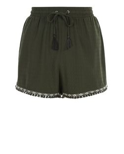 Khaki Aztec Tape Fray Trim Shorts | New Look