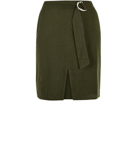 Curves Khaki Linen Mix D-Ring Belted Pencil Skirt | New Look