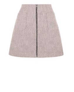 Pink Flecked Patch Pocket Zip Front Mini Skirt  | New Look