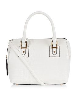 White Croc Textured Bowler Bag  | New Look