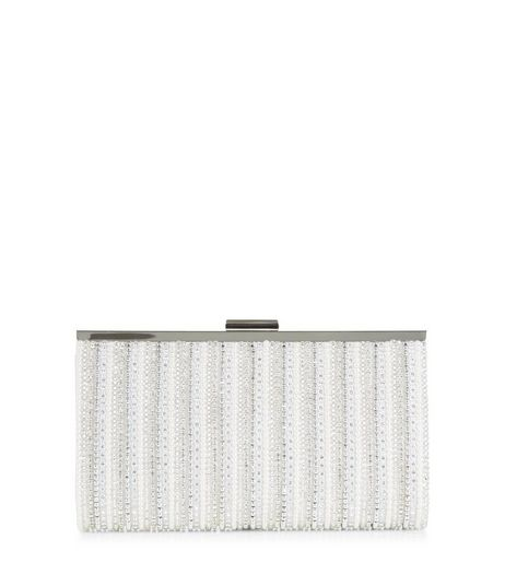 Silver Beaded Clutch  | New Look