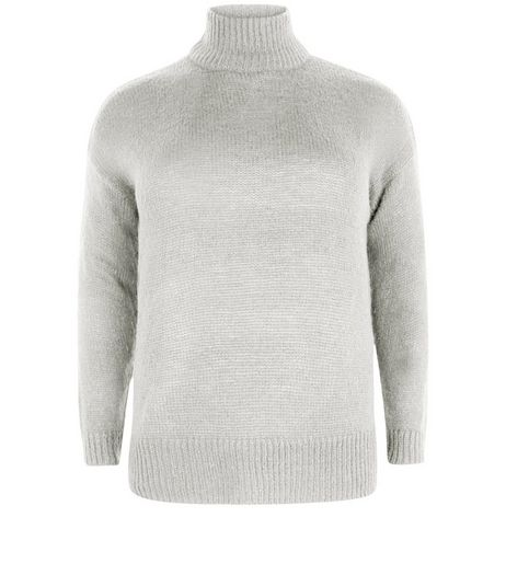 Curves Grey Funnel Neck Ribbed Jumper | New Look
