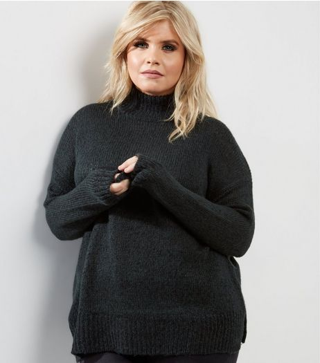 Curves Dark Green Funnel Neck Jumper | New Look