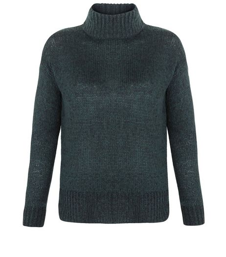 Petite Dark Green Funnel Neck Jumper | New Look