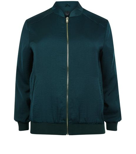 Curves Dark Green Sateen Bomber Jacket | New Look