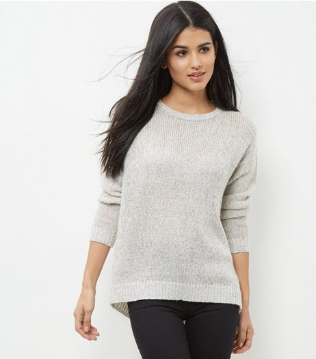 Tall Grey Sheer Boxy Jumper | New Look