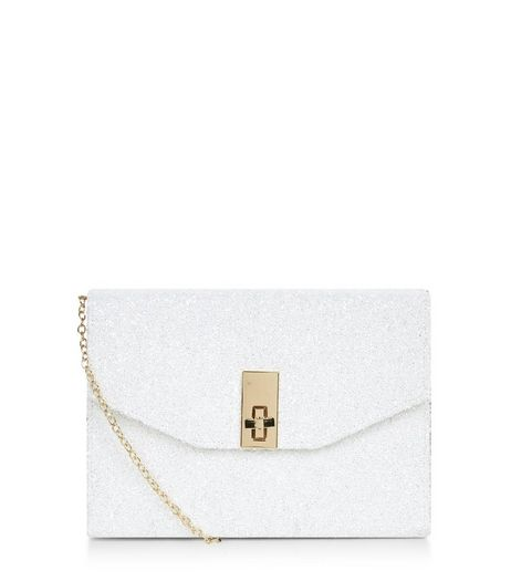 White Glitter Metal Trim Twist Lock Box Clutch  | New Look