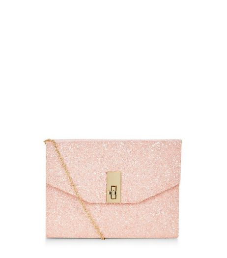 Stone Glitter Metal Trim Twist Lock Box Clutch  | New Look