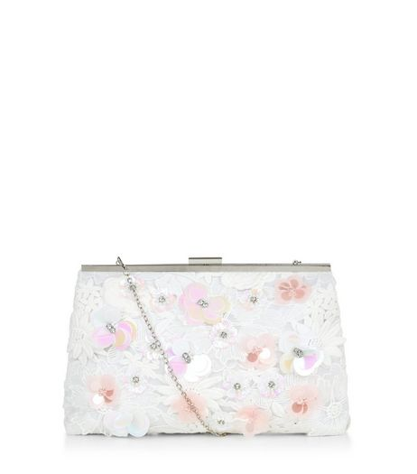 White Lace 3D Flower Frame Clutch  | New Look