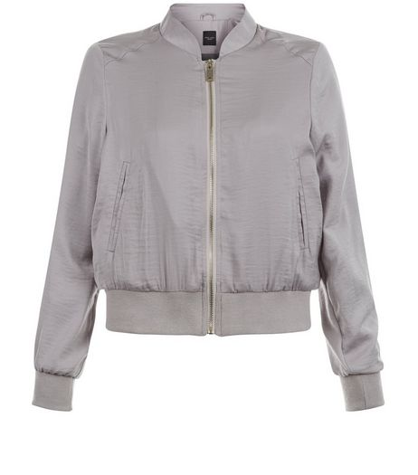 Petite Stone Sateen Bomber Jacket  | New Look
