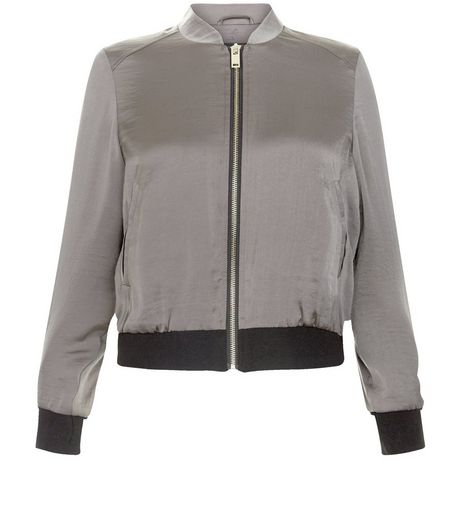 Petite Khaki Sateen Bomber Jacket  | New Look