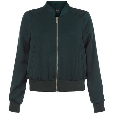 Petite Dark Green Sateen Bomber Jacket  | New Look