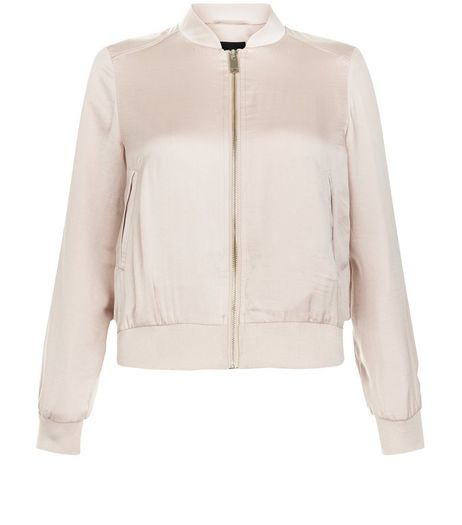 Petite Shell Pink Sateen Bomber Jacket  | New Look
