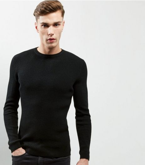 Black Cotton Ribbed Jumper | New Look