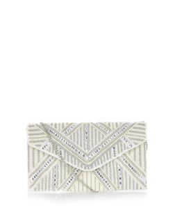 Cream Bridal Geo Pearl Envelope Clutch  | New Look