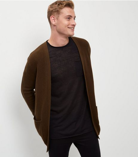 Khaki Longline Cardigan | New Look