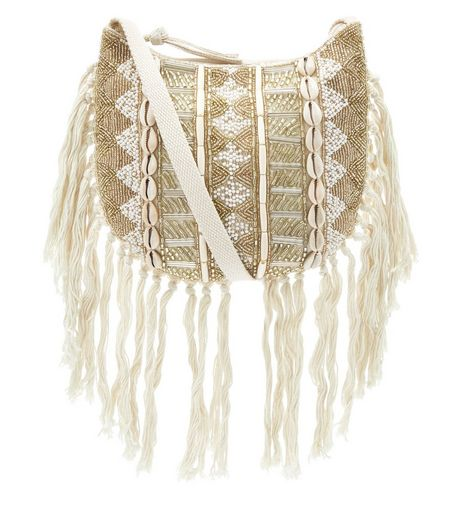 Stone Aztec Print Fringed Across Body Bag | New Look