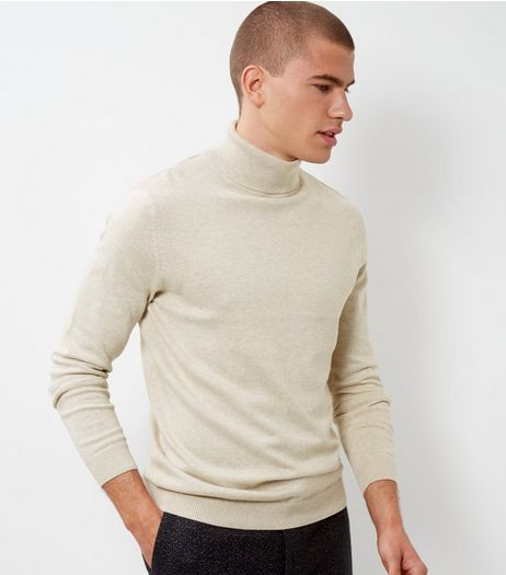Oatmeal Cotton Roll Neck Jumper | New Look