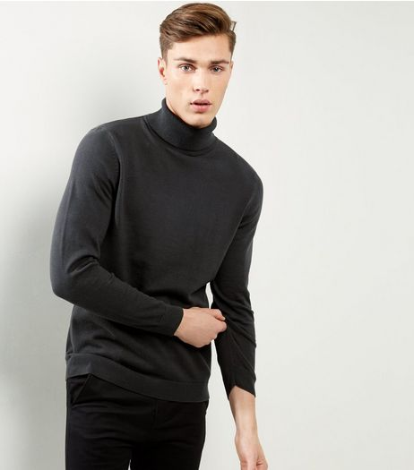 Dark Green Cotton Roll Neck Jumper | New Look