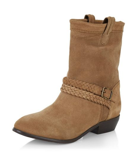 Tan Leather Block Heel Buckle Boots | New Look