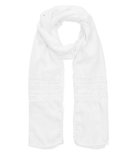 White Crochet Panel Longline Scarf | New Look