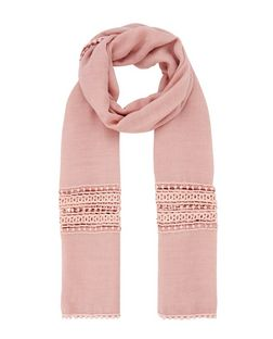 Pink Crochet Panel Longline Scarf | New Look