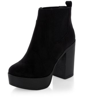 black suedette chunky block heel chelsea boots