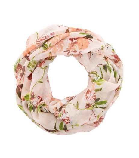 Pink Floral Print Snood | New Look
