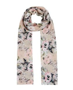 Stone Floral Print Longline Scarf  | New Look