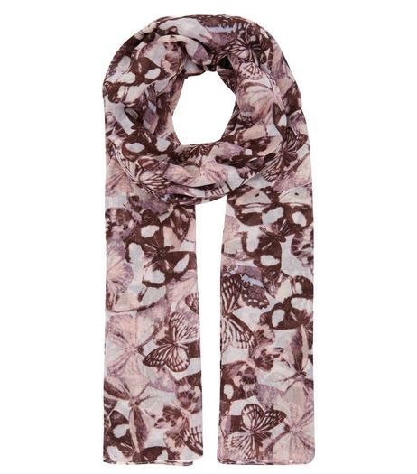 Pink Butterfly Print Longline Scarf | New Look
