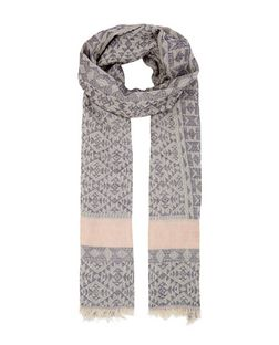Grey Abstract Print Jacquard Fringed Scarf | New Look