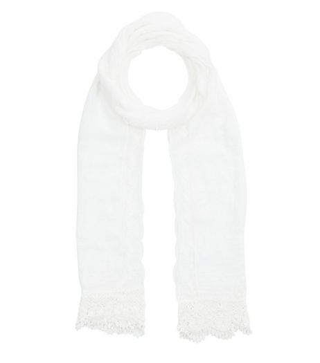 White Crochet Scarf | New Look
