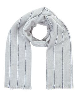 Grey Stripe Fringed Scarf  | New Look