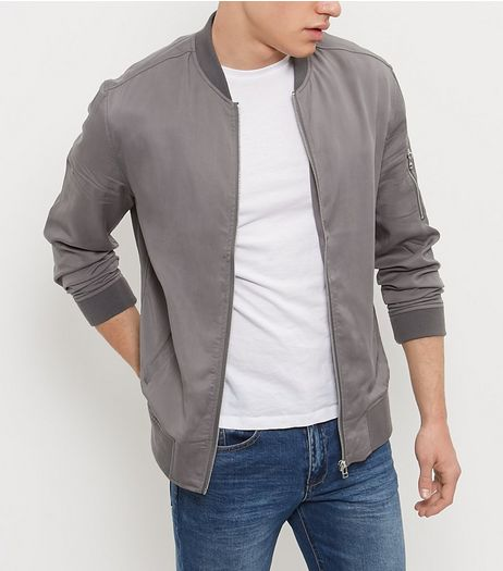 Grey Zip Sleeve Bomber Jacket | New Look