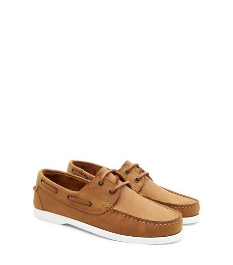 Tan Leather Nubuck Boat Shoes  | New Look