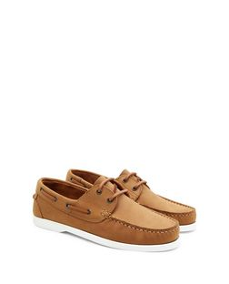 Tan Nubuck Boat Shoes  | New Look