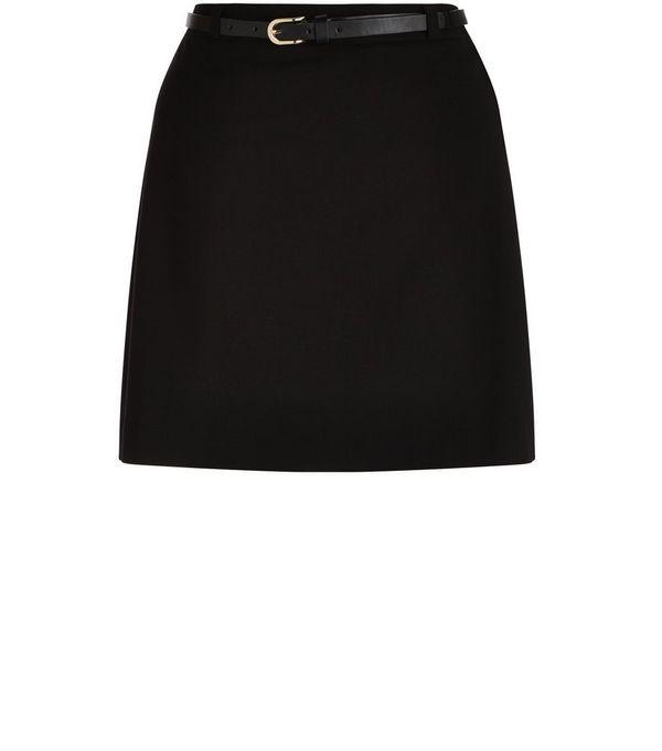 Teens Black Belted A-Line Skirt