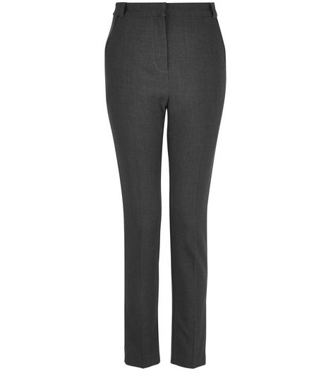 Teens Grey Leather-Look Trim Trousers | New Look