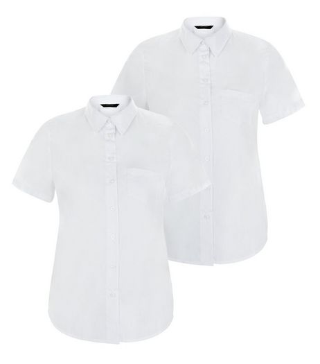 2 Pack Teens White Single Pocket Short Sleeve Shirts | New Look