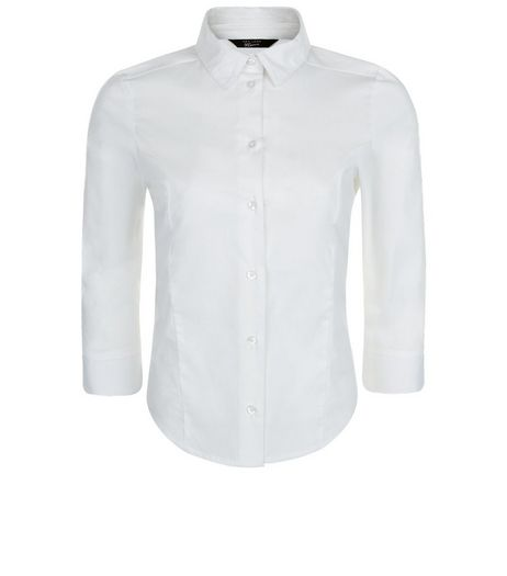 Teens White 3/4 Sleeve Shirt | New Look