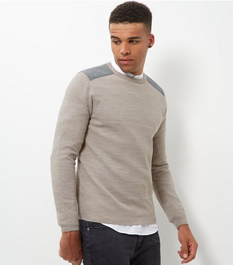 Cream Textured Patch Jumper | New Look