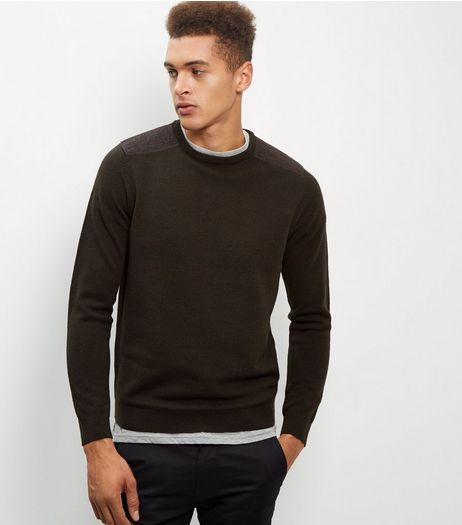 Dark Green Textured Patch Jumper | New Look