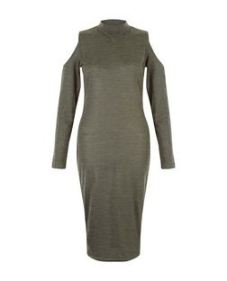 Khaki Fine Knit Funnel Neck Cold Shoulder Midi Dress  | New Look