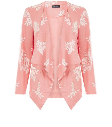 Peach Linen Tropical Print Waterfall Blazer  | New Look