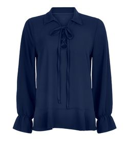 Mela Blue Tie Front Blouse  | New Look