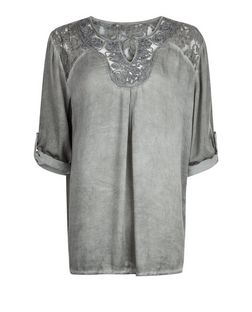 Mela Grey Embellished Neck Blouse | New Look