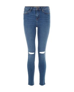 Teens Blue Ripped Knee Raw Hem Skinny Jeans | New Look