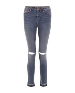 Teens Blue Raw Hem Ripped Knee Skinny Jeans  | New Look