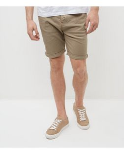 Stone Turn Up Shorts  | New Look